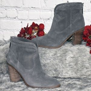 Perforated Suede Ankle Boots - Fretzia (Sz 7M)
